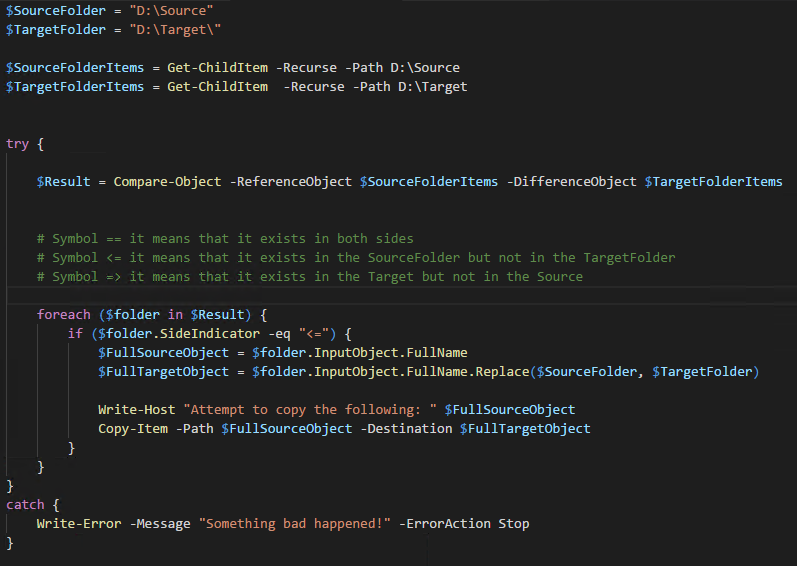 Synchronize Files and Folders using Powershell | Freccia's Blog